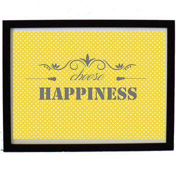 Happiness Art print ,digital art decor, yellow and with dots pattern,inspirational poster, Wall art, wall decor,home decor,