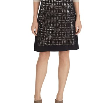 White House | Black MarketGraphic Cut Out Flirty Skirt