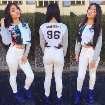 Ambitionz Tupac Crop Jersey Sweater