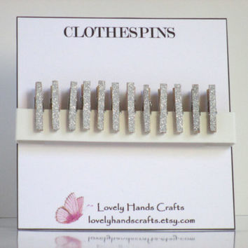 Silver Glitter Tiny Wooden  Clothespins - Set of 12