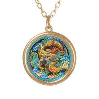 Cool traditional japanese oriental dragon wood art necklaces from Zazzle.com