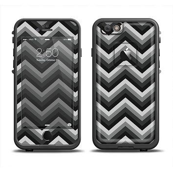 The Gray Toned Layered CHevron Pattern Apple iPhone 6 LifeProof Fre Case Skin Set