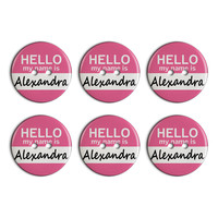 Alexandra Hello My Name Is Plastic Resin Button Set of 6