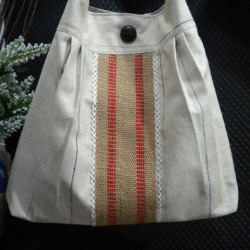 French Market Bag / Large Pleated Hobo Bag / by maycascollection