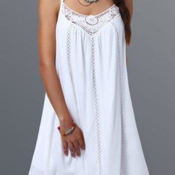 White Spaghetti Strap Short Lace Splicing Shift Dress