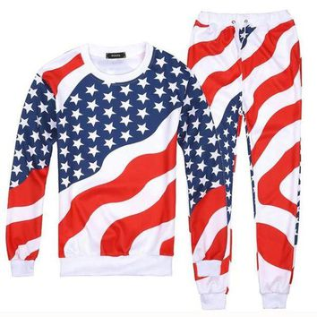 Men/Women 3D American Flag Print Sport Suits Hip Hop Emoji O-Neck Sweatshirts+Jogger Pants Tracksuit Running Jogging Hoodies Set