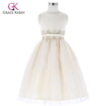 Beige Long Flower Girl Dresses for Wedding Girls Beauty Pageant Dresses Sleeveless Evening Gowns Kids Prom Dresses with Belt