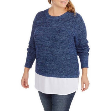 Faded Glory Women's Plus Twofer Shaker Sweater, 4X, Blue Saphire