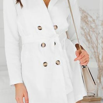 Set Ablaze White Long Sleeve Double Breasted Button Trench Coat Blazer Casual Mini Dress