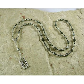 Anubis Prayer Bead Necklace in Picasso Jasper: Egyptian God of the Underworld, Guardian of the Dead