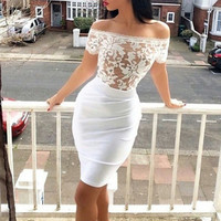 Lace Patchwork Bodycon Off-shoulder Strapless Sexy Dress