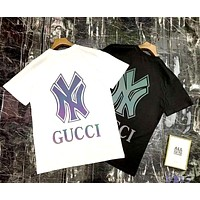 GUCCI x NY Joint Reflective Color Print Couple Short Sleeve T-Shirt
