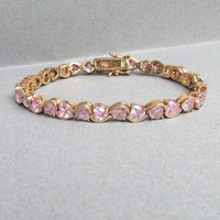 Vintage Sterling Silver Gold Plated Vermeil Heart Shaped Pink CZ Tennis Bracelet, Large 7 3/4""