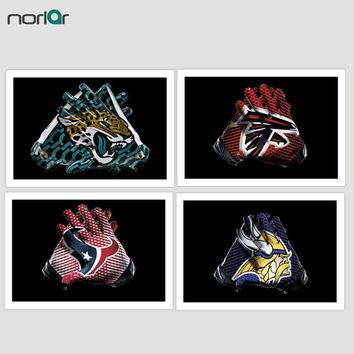 Football Gloves Canvas Painting Detroit Lions Atlanta Fminnesota Vikings alcons Texans Wall Art Sports Posters Art Print