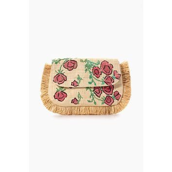 Amelia Embroidered Straw Clutch - Natural Rose Print