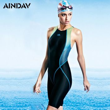2019 Competition Kneeskin Chlorine Low Resistance One Piece Swimsuit Racing Arena Swimwear Women Sport  Bathing Suits Yingfa