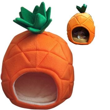 Creative Pineapple Dog House S And L Cotton Dog Bed Small Pet Cat Bed Teddy Dog Yurt Hand Wash Machine Wash Foldable Dog Beds