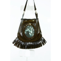 Fringed Leather Bag handmade Stallion tote equestrian Fashion accessory Free shipping