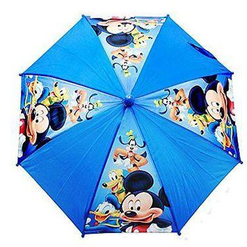 "Disney Mickey Mouse & Family Light Blue 21"" Umbrella w/Figure Handle"