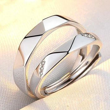 ICIKON3 engagement none trendy lovers reallover s925 couple rings and japanese korean students simple personality