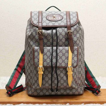 Vintage GUCCI Casual School Bag Leather Backpack 9020