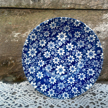 Blue Calico Soup Bowl, Stoke on Trent, Country Cupboard, England, Blue and White Transferware, Serving, Bowl, Kitchen, Ironstone