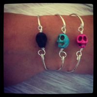 Skull silver plated bangle pick a color Pink by miskwill on Etsy