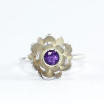 Lotus Flower Ring - Natural Purple Amethyst Gemstone, Sterling Silver 14k Yellow or Palladium White Gold - Promise Ring Custom Made to Order