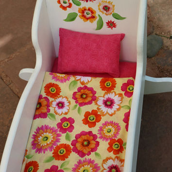 18 inch doll bed hand painted wooden with pink floral decorative design for little girl