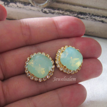 Gold Earrings Mint Green Chrysolite Opal Stud Earrings Wedding Jewellery Bridal Earrings Bridesmaid Gift Jewelry Modern Victorian
