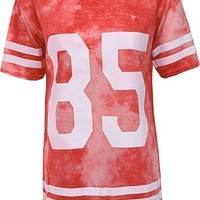Forever Womens Short Sleeves 85 Tie And Dye Print Baggy Top