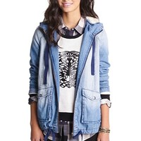 Rubbish® Faux Shearling Hooded Denim Jacket (Juniors) | Nordstrom