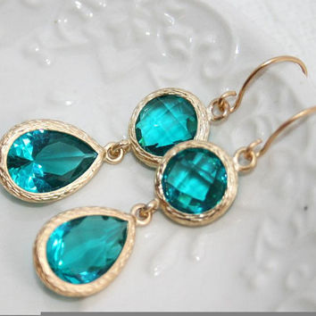 Blue zircon Drop Earrings Matte gold framed by AngelPearls on Etsy