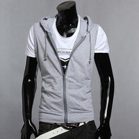 Men's Hoodie Jacket Sleeveless T-shirt Vest Coat