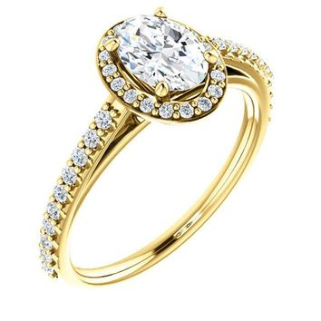 0.75 Ct Oval Halo-style Diamond Engagement Ring 14k Yellow Gold
