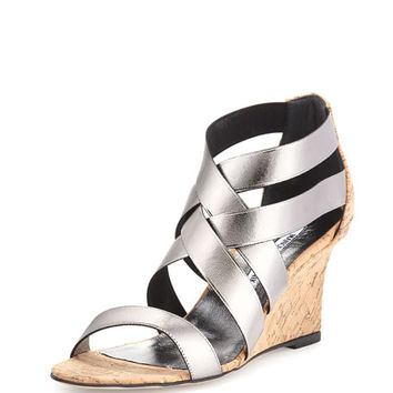 Manolo Blahnik Glassa Strappy Cork Wedge Sandal, Gunmetal