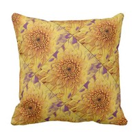Yellow Flower Purple Background Print Pillow