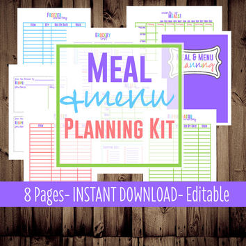 Meal Planner, Weekly Menu Planner-Printable Meal Planning Kit-8 Sheets-Bright-INSTANT DOWNLOAD & EDITABLE