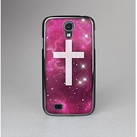 The Vector White Cross v2 over Glowing Pink Nebula Skin-Sert Case for the Samsung Galaxy S4