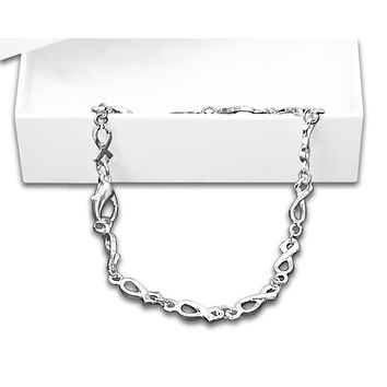 Mental Health Awareness Silver Ribbon Bracelet-Silver Linked in a Gift Box
