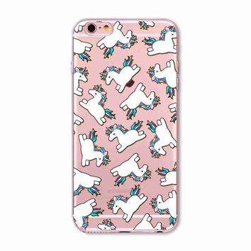 Cute Unicorn Collage Animal Soft Silicone Cell Phone Case Cover for IPhone 4 4s 5C 5 5s SE 6 6s 6 Plus 6s Plus