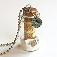 Map Bottle Necklace- Glass Bottle with Old World Map, Nautical Anchor Charm, Sand and Shells