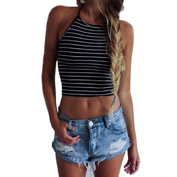 Women Tops Sexy Black Stripe Sleeveless Halter neck tank top women Tops Vest T-Shirt Women Summer top cropped for women