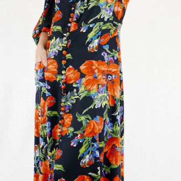Gorgeous 30's Giant Poppy Print Floral Poet Sleeve Robe Maxi Dress