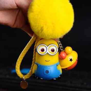 Cute Cartoon Despicable Me Minions Fur Ball PomPom Pom poms Keychain Women Leather Strap Metal Key Ring Chains Car Bag Charm D34