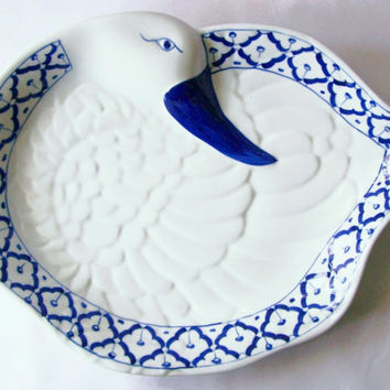 "CERAMIC Duck Shaped PLATE Hand Painted Blue & White Platter Serving Dish Farm Animal Kitchen Home Decor 12.8""x10""x1.6"" New Ships from USA"