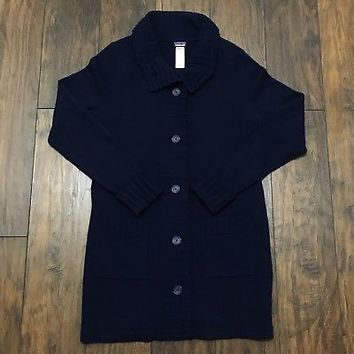 Patagonia Lambswool Blend 7 Button Navy Blue Long Sweater Womens Size M Medium