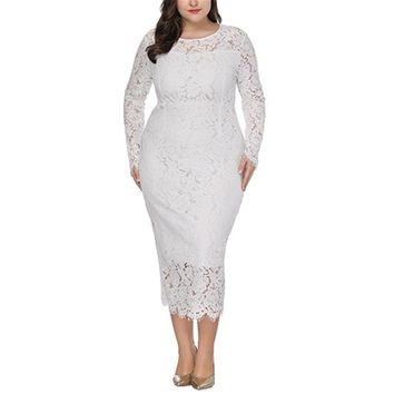 Plus Size Lace Dress Woman Big Size Dresses Fashion Hollow Out Evening Vestidos Elegant Vintage 5xl 6xl Party Gown Wedding Jurk