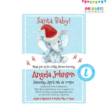 Christmas Baby Shower Invitations Boy, Elephant Invitation, Christmas Baby Shower Invites, Editable Christmas Invitation Templates, Download
