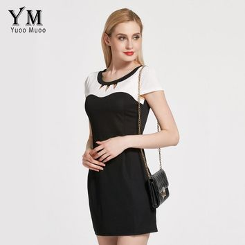 YuooMuoo Lady Casual Dress Women Plus Size Work Dress Bodycon Elegant OL Business Dress Office Short Patchwork Women Clothing